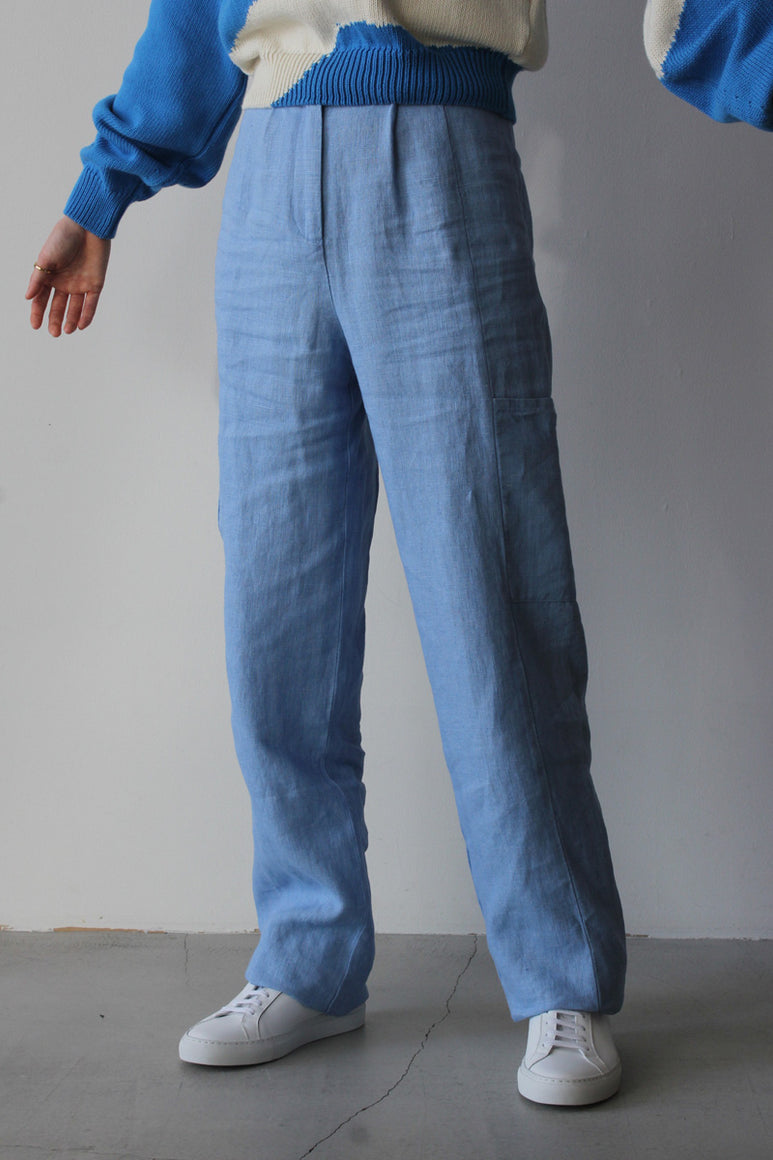 ROSS LINEN PANTS / LIGHT BLUE