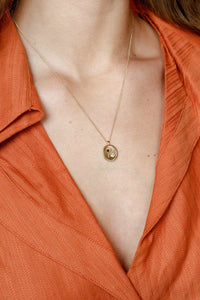 ASTRA NECKLACE w/14K GOLD PLATED BRONZE PENDANT / GOLD FILLED CHAIN
