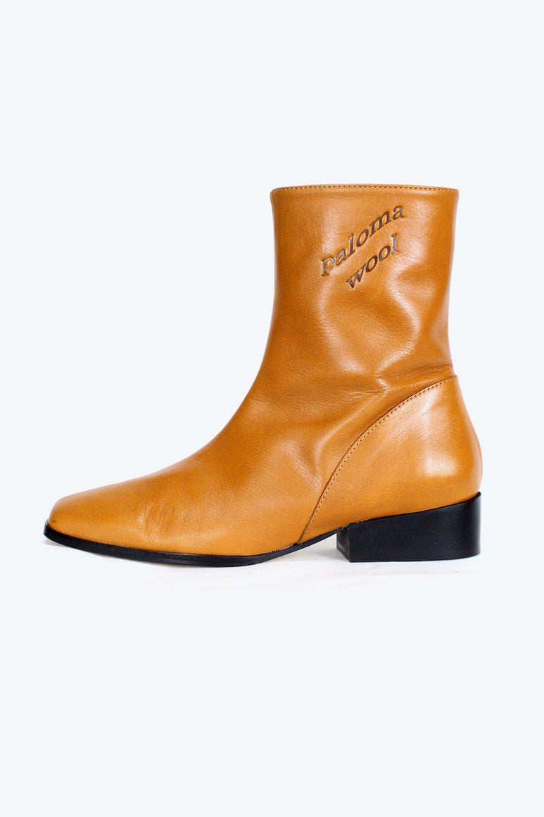 EDNA ANKLE LEATHER  BOOT / NATURAL LEATHER [30%OFF]