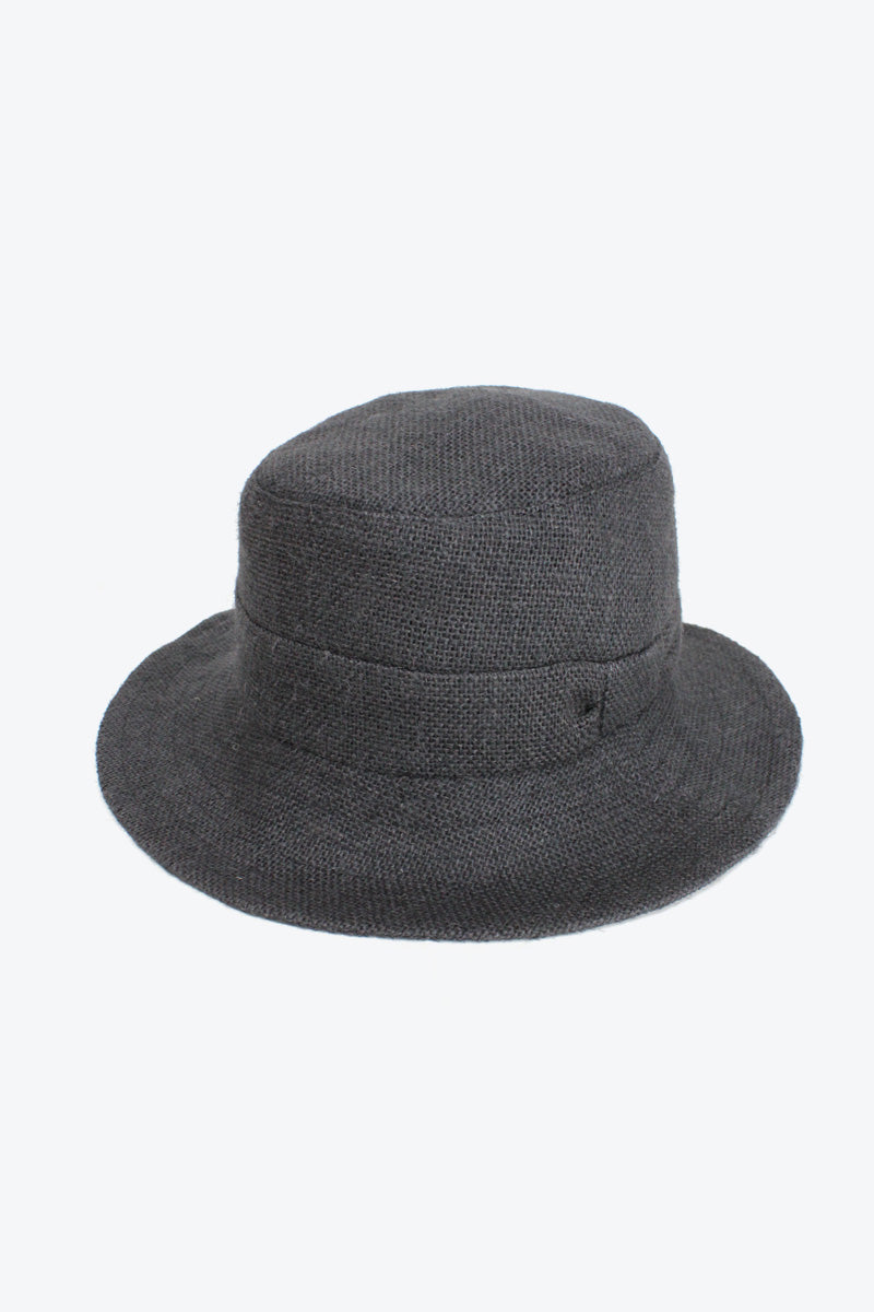 JUTE MID BRIM HAT WITH RIBBON DETAIL / BLACK [20%OFF]