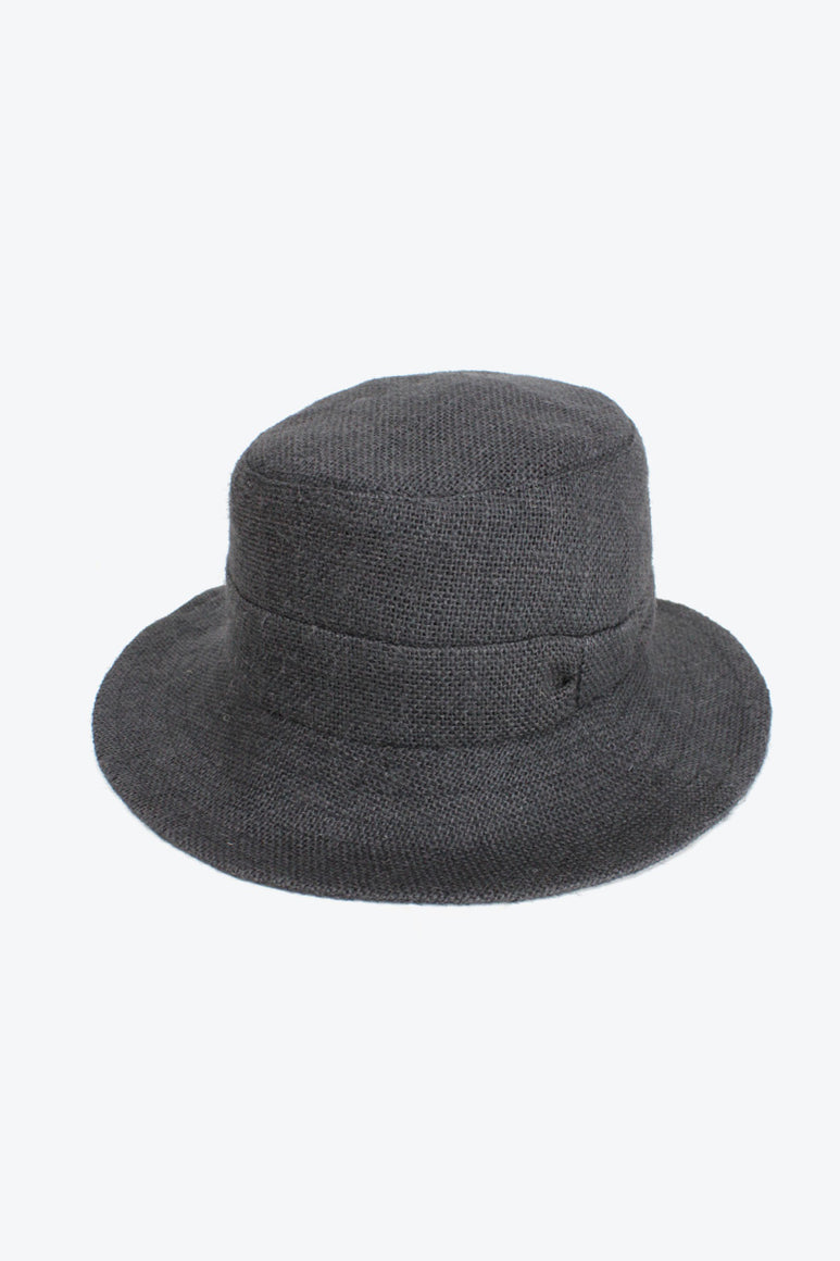 JUTE MID BRIM HAT WITH RIBBON DETAIL / BLACK [30%OFF]