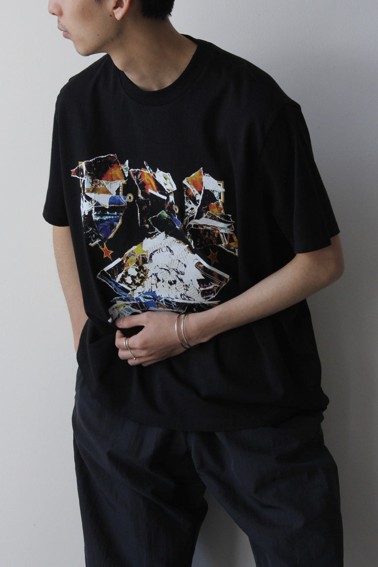 BOX T-SHIRT / BLACK MOTO PRINT