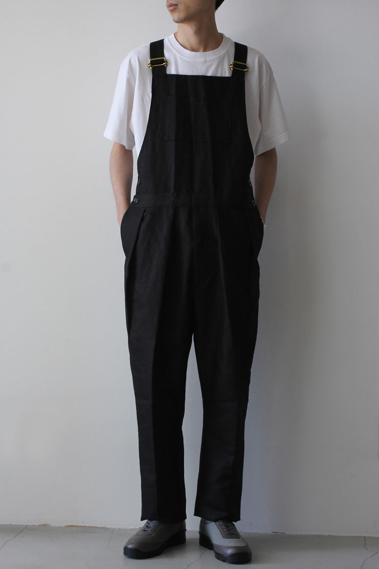 COTTON LINEN OXFORD OVERALL / BLACK