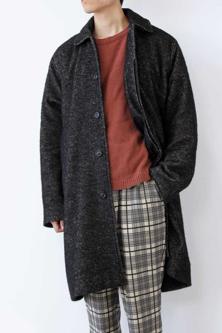 CAR COAT WOOL ALPACA / BLACK AND BEIGE [20%OFF]