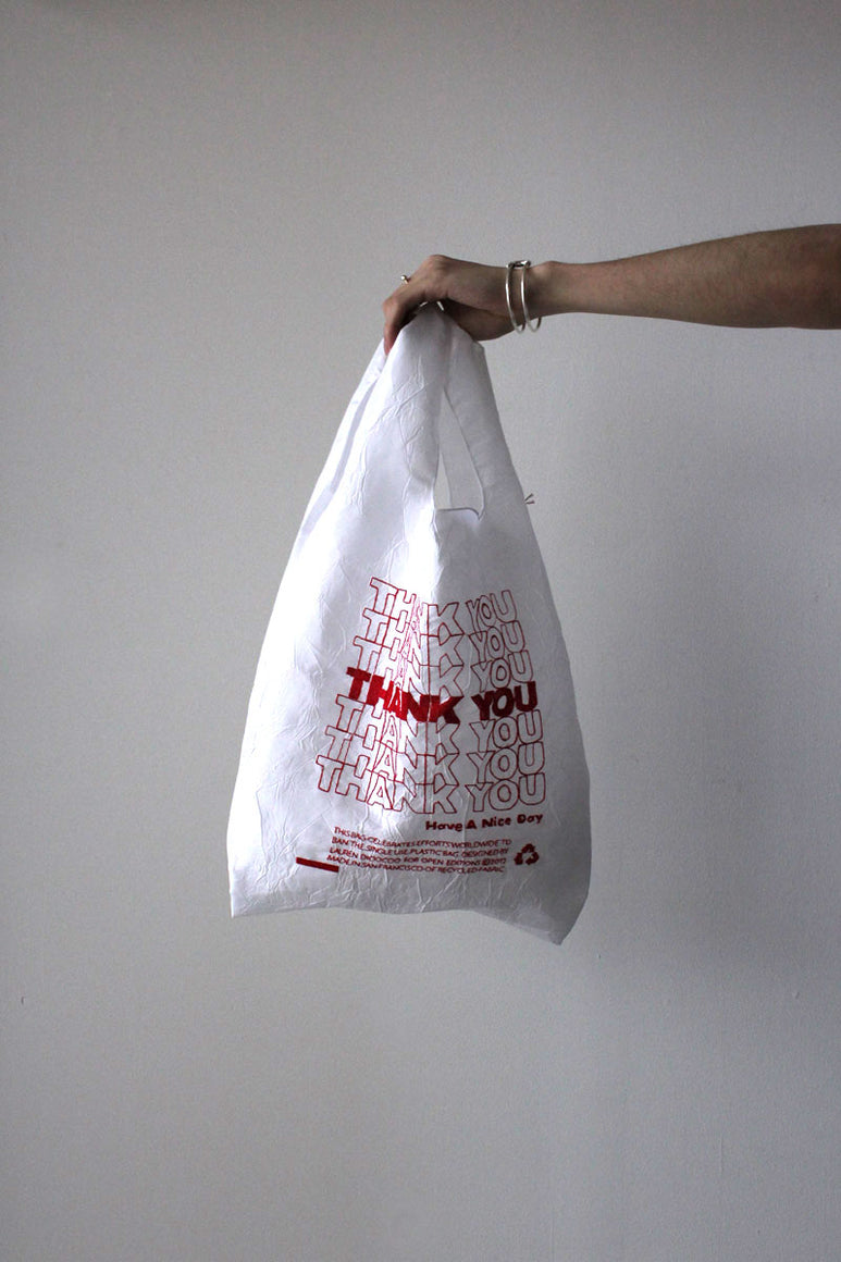 THANK YOU THANK YOU TOTE / RED THREAD ON WHITE TAFFETA