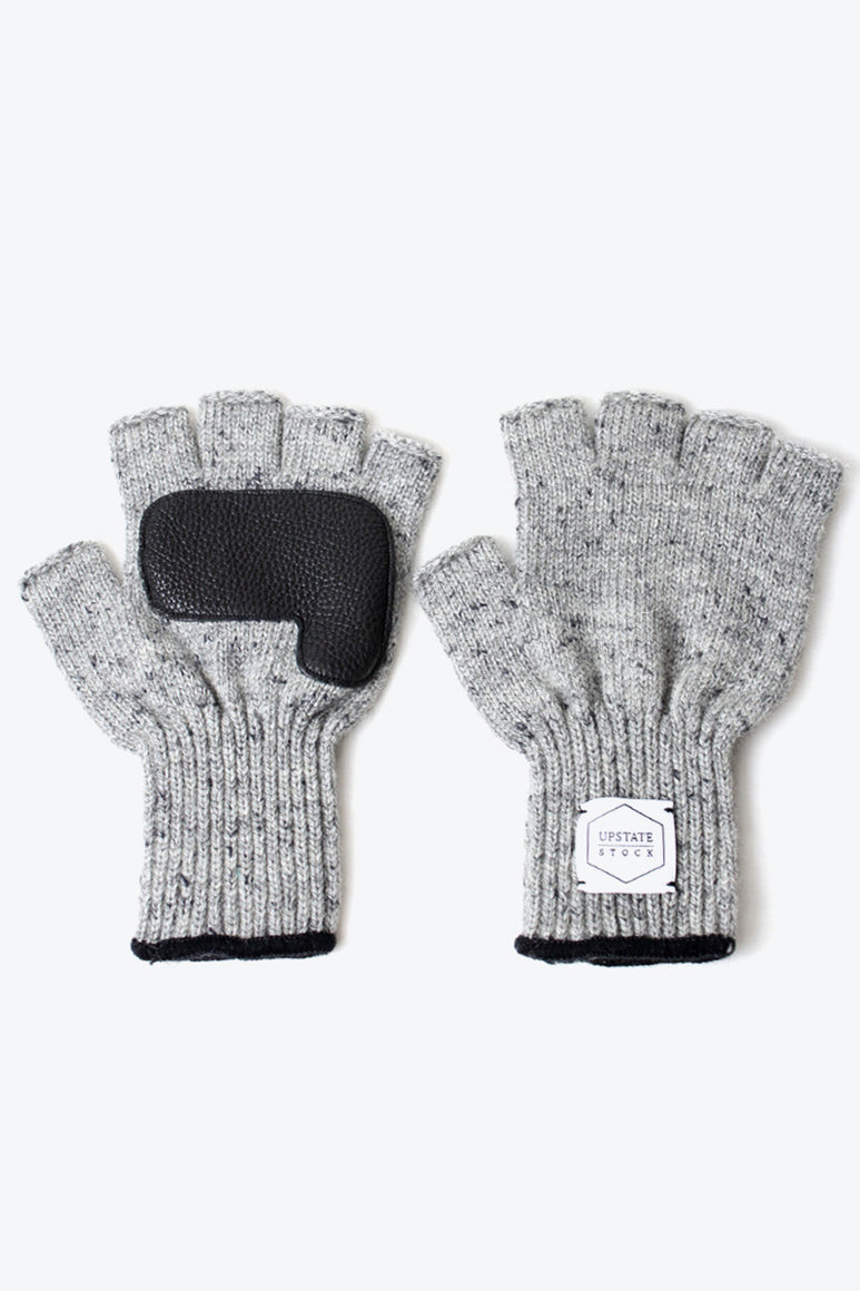 FINGERLESS RAGG WOOL GLOVE W/DEER / GREY TWEED