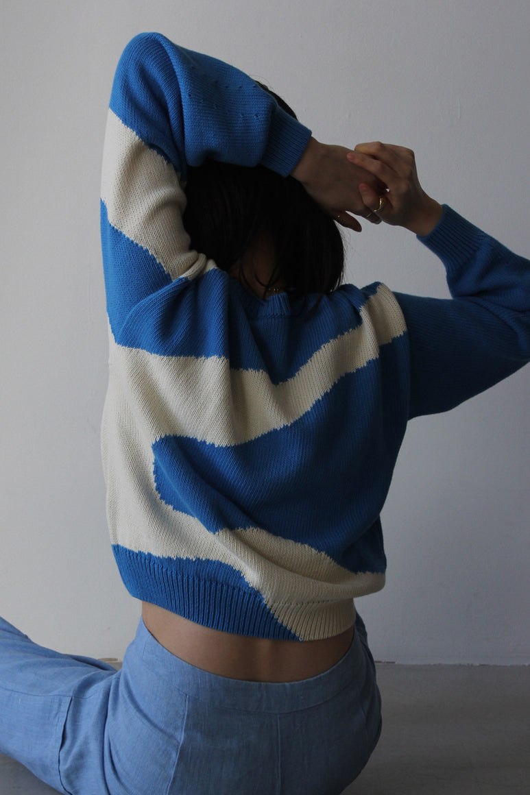 PIN COTTON SWEATER / SOFT BLUE