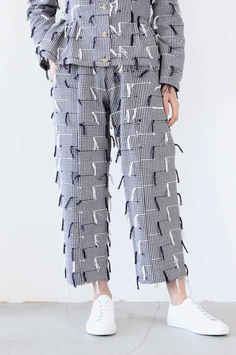 PATCH PANTS / IVORY NAVY FRINGE [50%OFF]