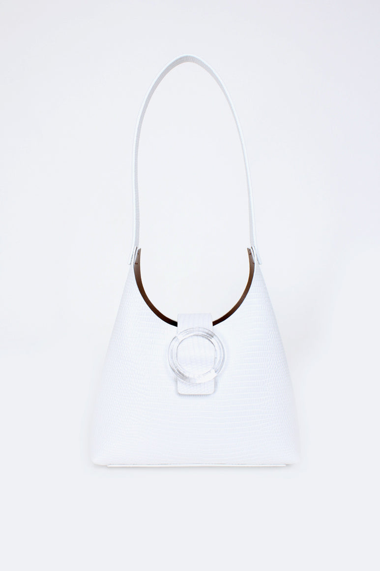 N°44 LUCITE MINI / BLANC LIZARD-EMBOSSED LEATHER
