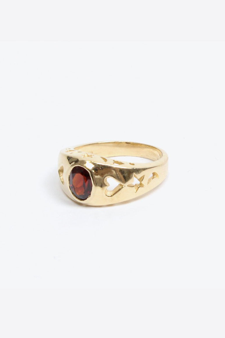 [クーポン対象外商品] 14K GOLD RING w/RED STORE 6.5G / GOLD