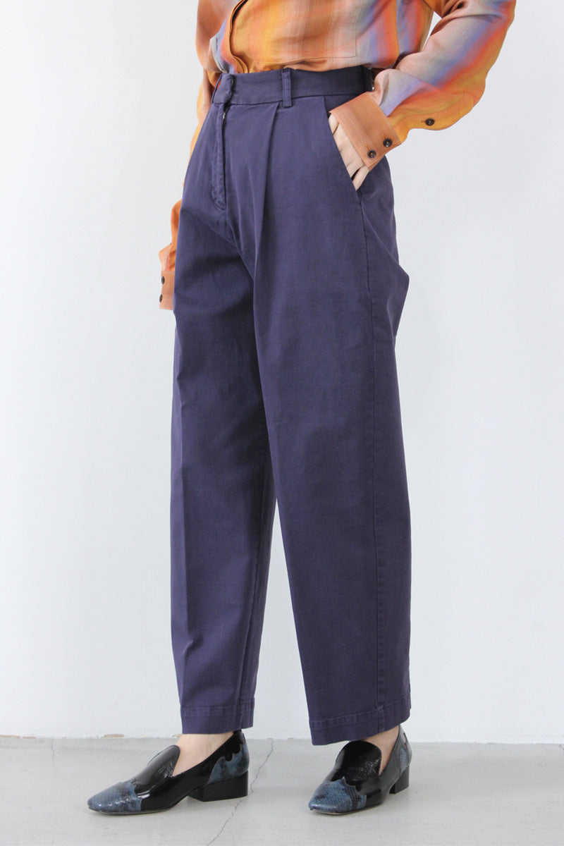 MARKET COTTON TWILL TROUSERS / NAVY