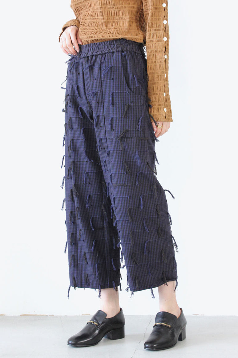 PATCH PANTS / BLACK NAVY FRINGE