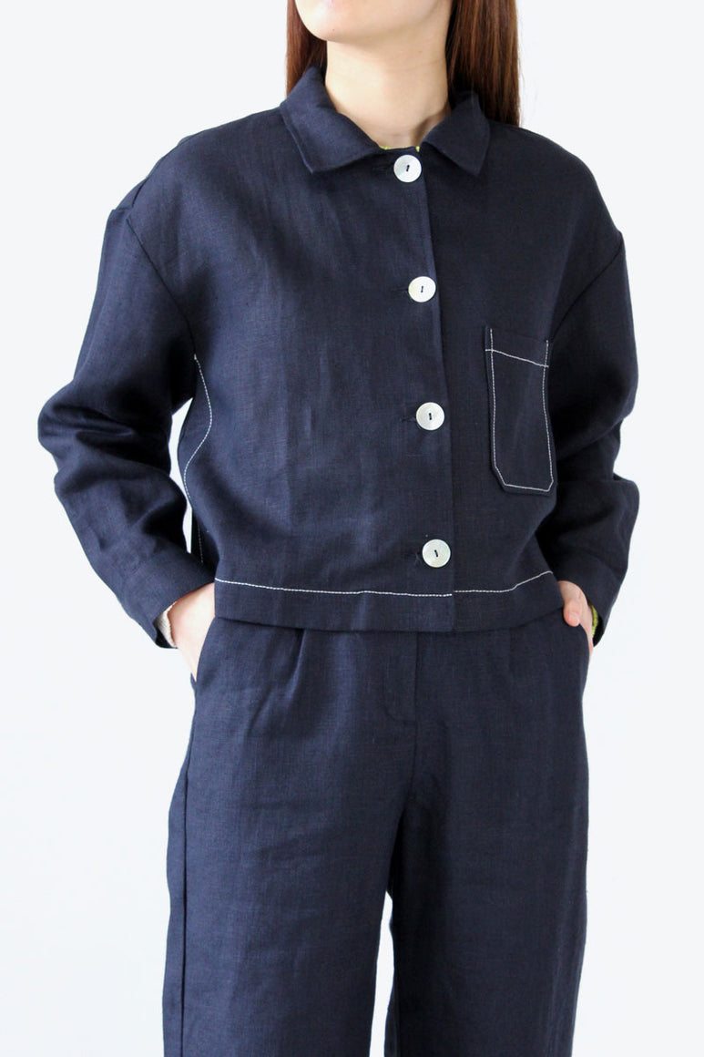 BERLIN LINEN JACKET / DARK NAVY [30%OFF]