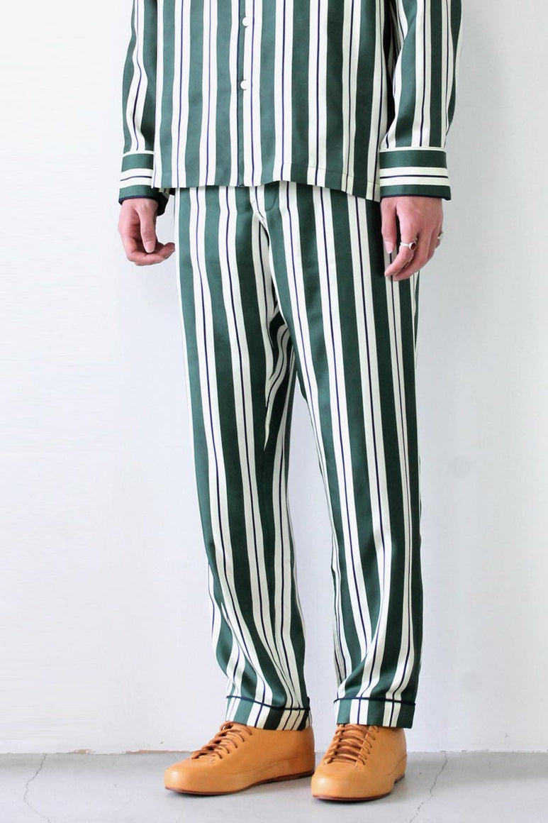 MARCEL PAJAMA PANT SILK TWILL STRIPE / GREEN NAVY CREAM  [30%OFF]