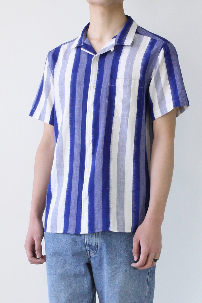 MALICK SHIRT IKAT / STRIPE BLUE [50%OFF]