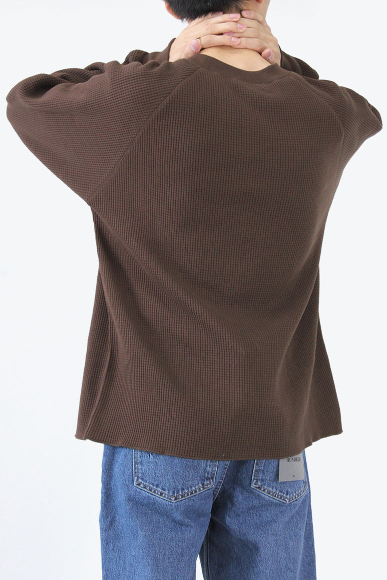 CROPPED RAGLAN THERMAL / ROOT BROWN