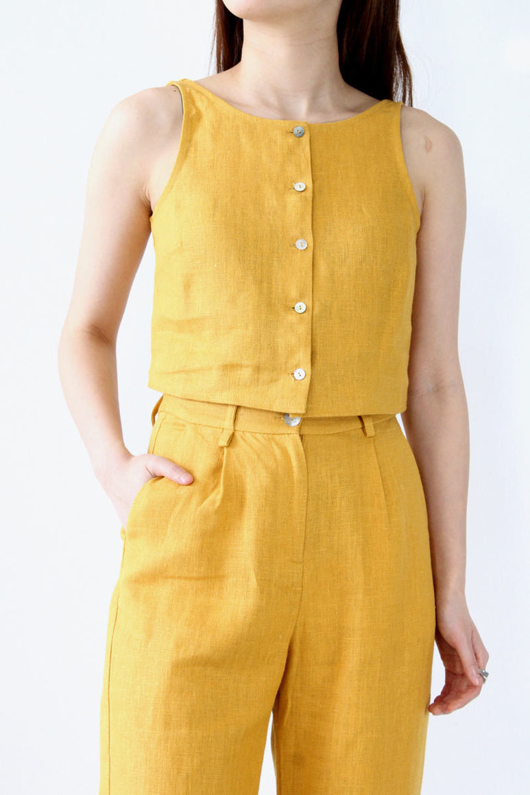 COLOMBINE SLEEVE LESS TOP / OCHRE [20%OFF]