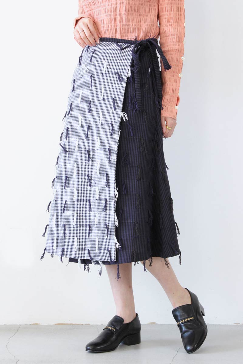JETTY WRAP SKIRT / TWO TONE FRINGE [50%OFF]