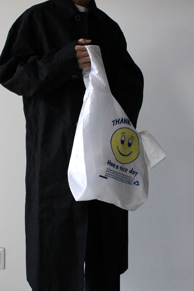 THANK YOU SMILE TOTE / BLUE AND YELLOW THREAD ON WHITE TAFFETA