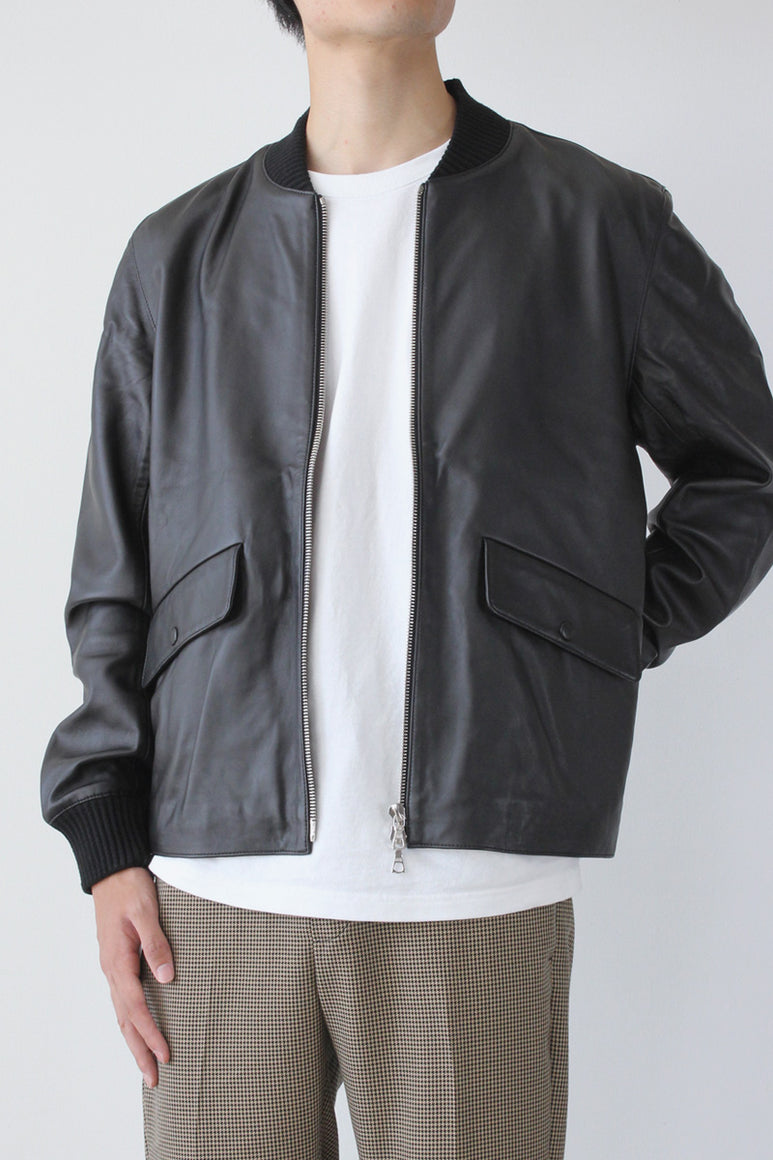 SHAWN LEATHER BOMBER JACKET / BLACK