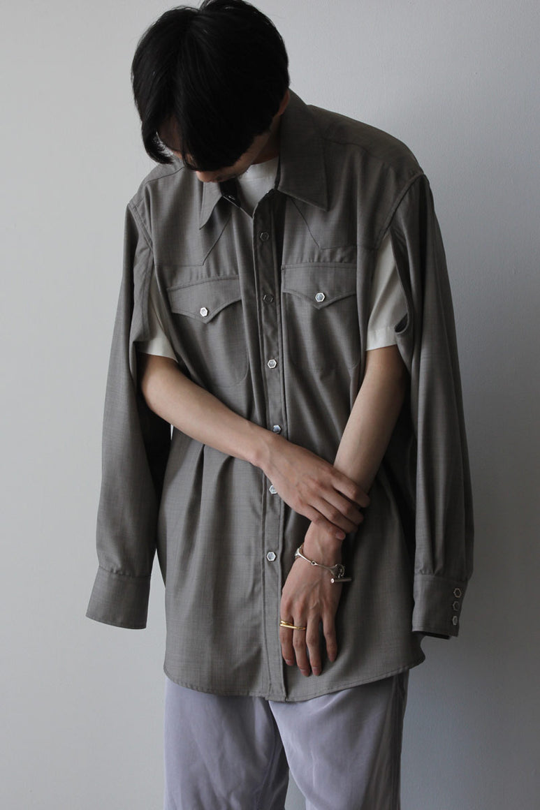 CUT RANCH SHIRT / STONE GREY WOOL