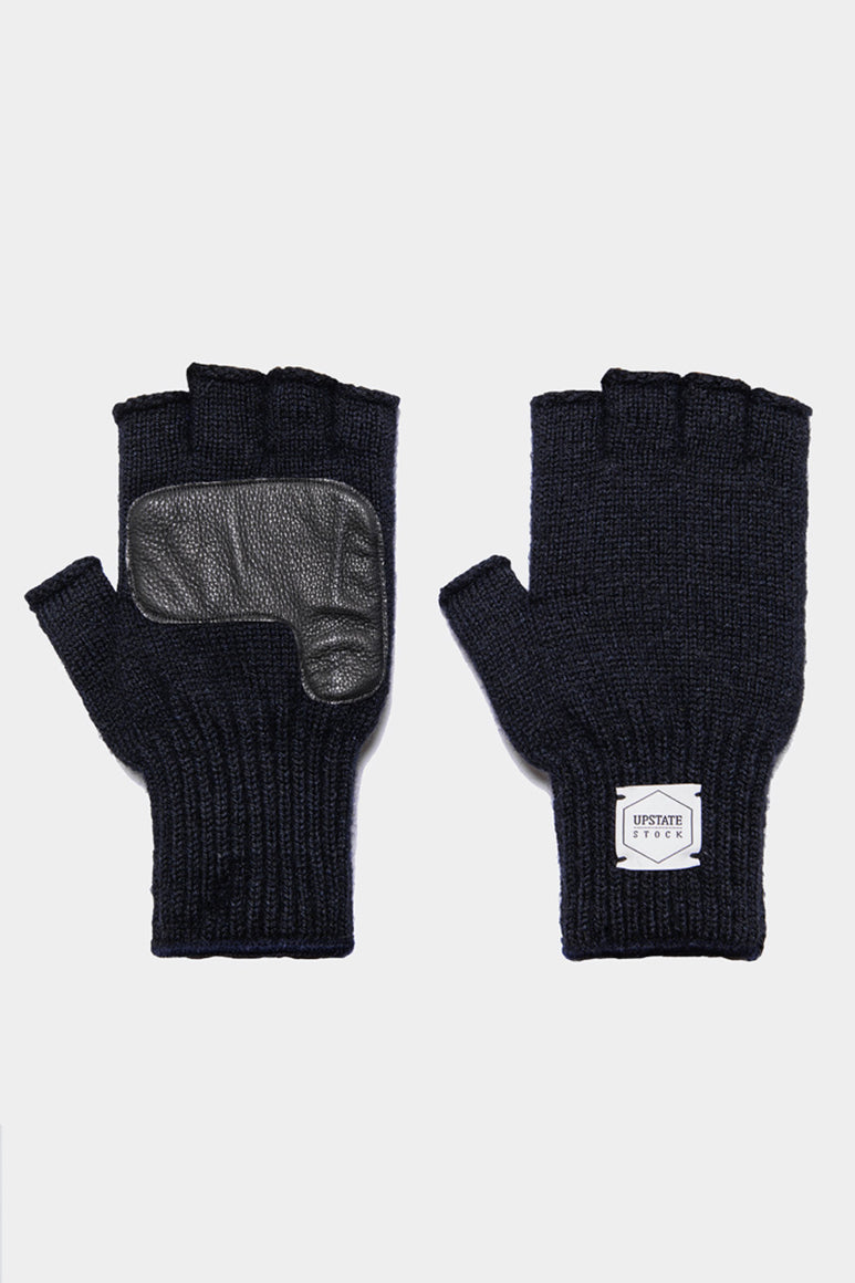 FINGERLESS RAGG WOOL GLOVE W/DEER / NAVY MELANGE