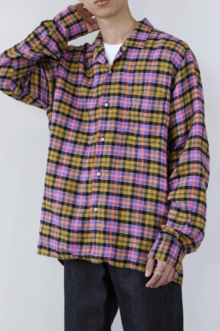 OPEN COLLAR CHECK L/S SHIRT / PURPLE/BEIGE  [STOCK EXCLUSIVE] [40%OFF]