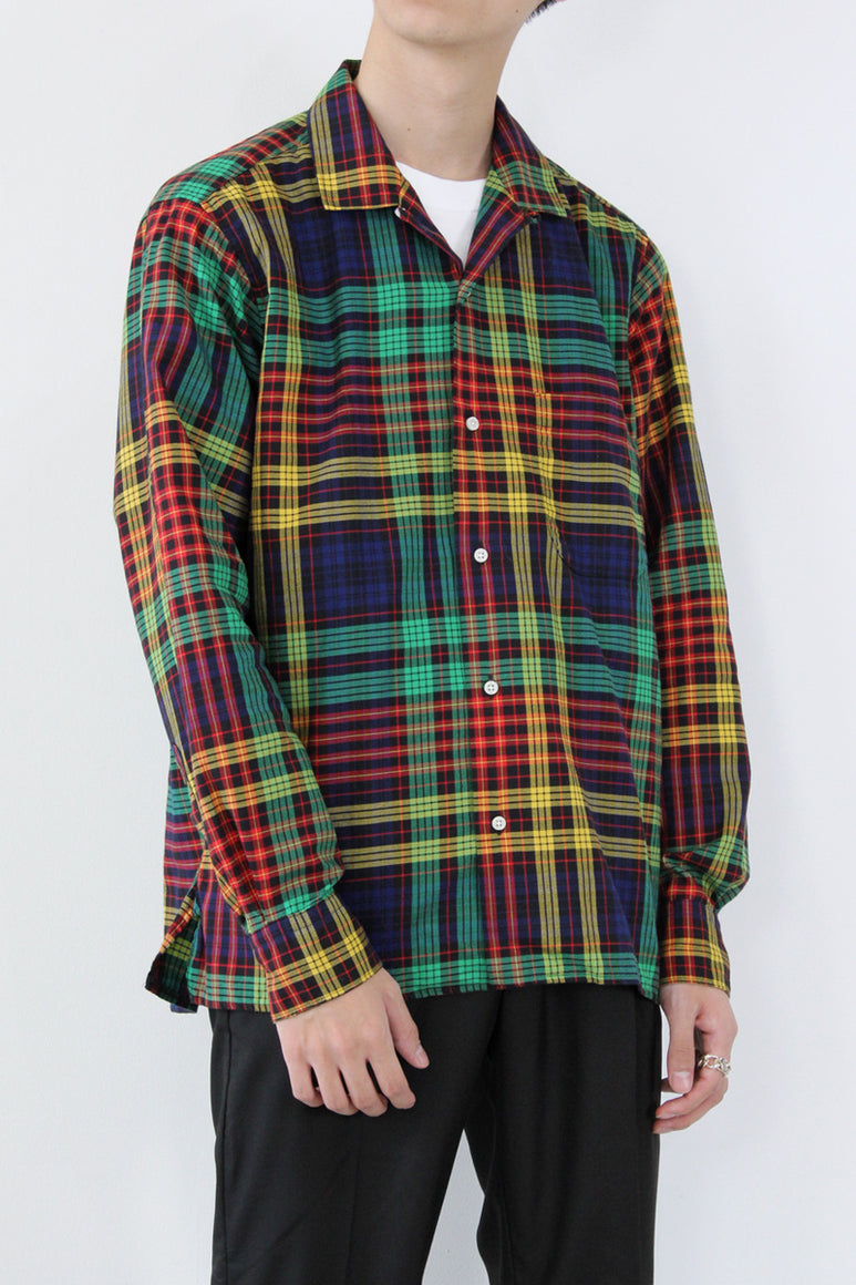 OPEN COLLAR CHECK L/S SHIRT / GREEN/MULTI  [STOCK EXCLUSIVE] [40%OFF]