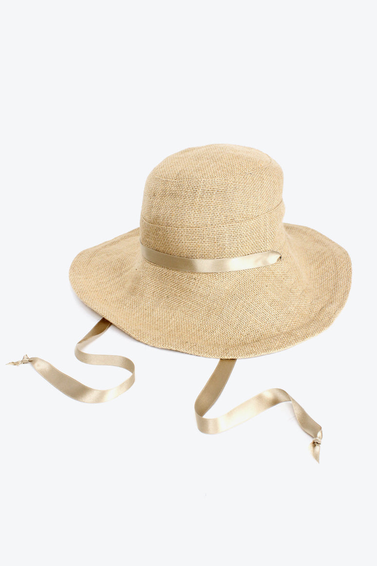 JUTE WIDE BRIM HAT w/SILK RIBBON / NATURAL/ GOLD [30%OFF]