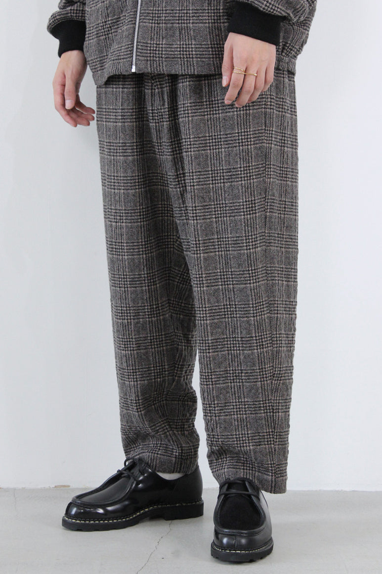 ALVA WOOL CHECK SKATE TROUSERS / BROWN [30%OFF]