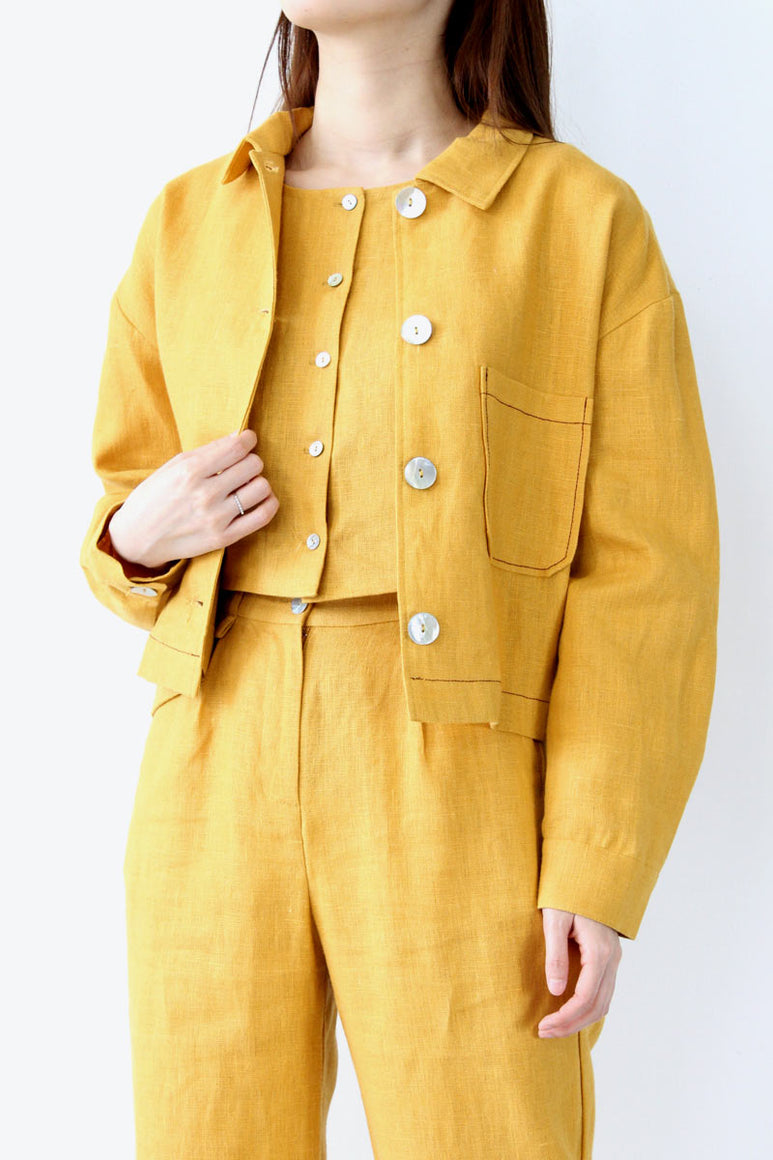 BERLIN LINEN JACKET / OCHRE [30%OFF]