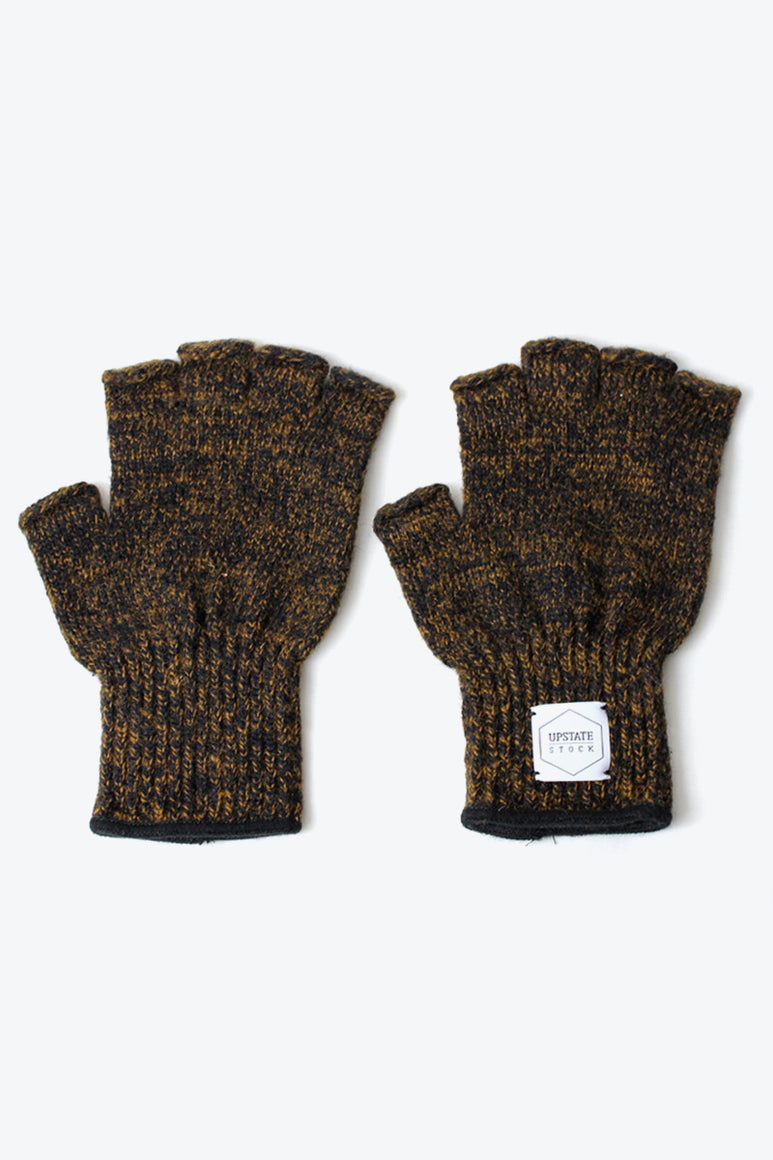 FINGERLESS RAGG WOOL GLOVE / RUST MELANGE