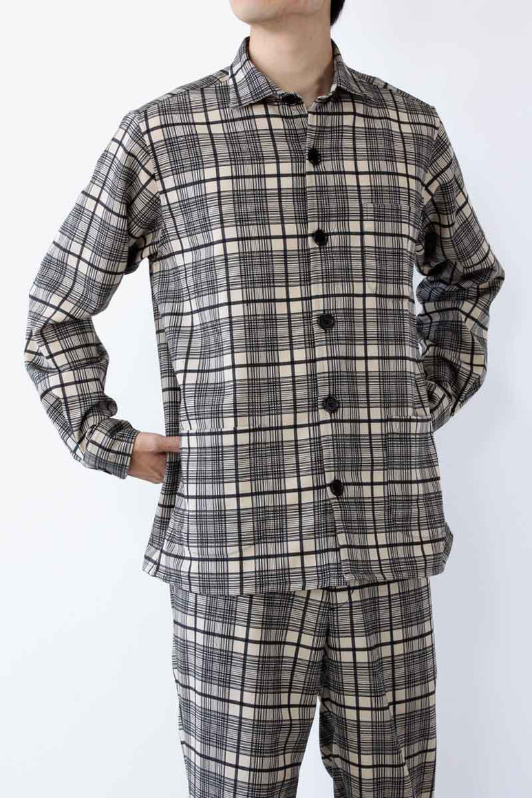 OVERSHIRT WOOL MIX CHECK / BLACK AND KHAKI [20%OFF]