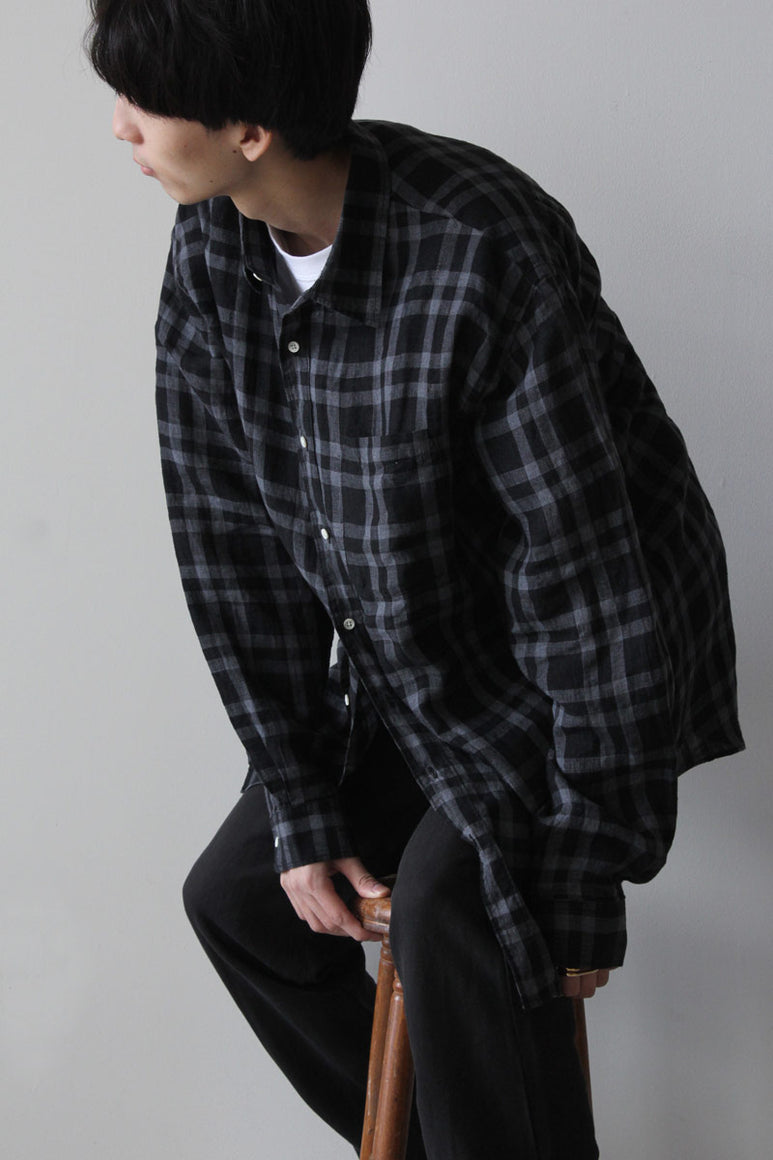 SHIRT NON-BINARY LINEN CHECK / BLEACHED BLACK