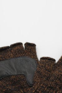 FINGERLESS RAGG WOOL GLOVE W/DEER / RUST MELANGE