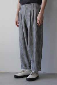 CREOLE COTTON LINEN HICKORY STRIPE TROUSERS / NAVY