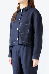 BERLIN LINEN JACKET / DARK NAVY [20%OFF]