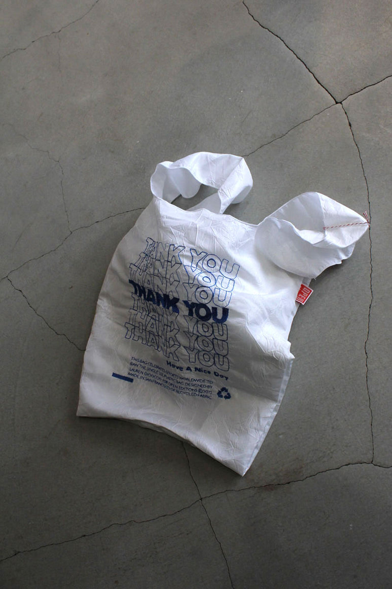 THANK YOU THANK YOU TOTE /  BLUE THREAD ON WHITE TAFFETA