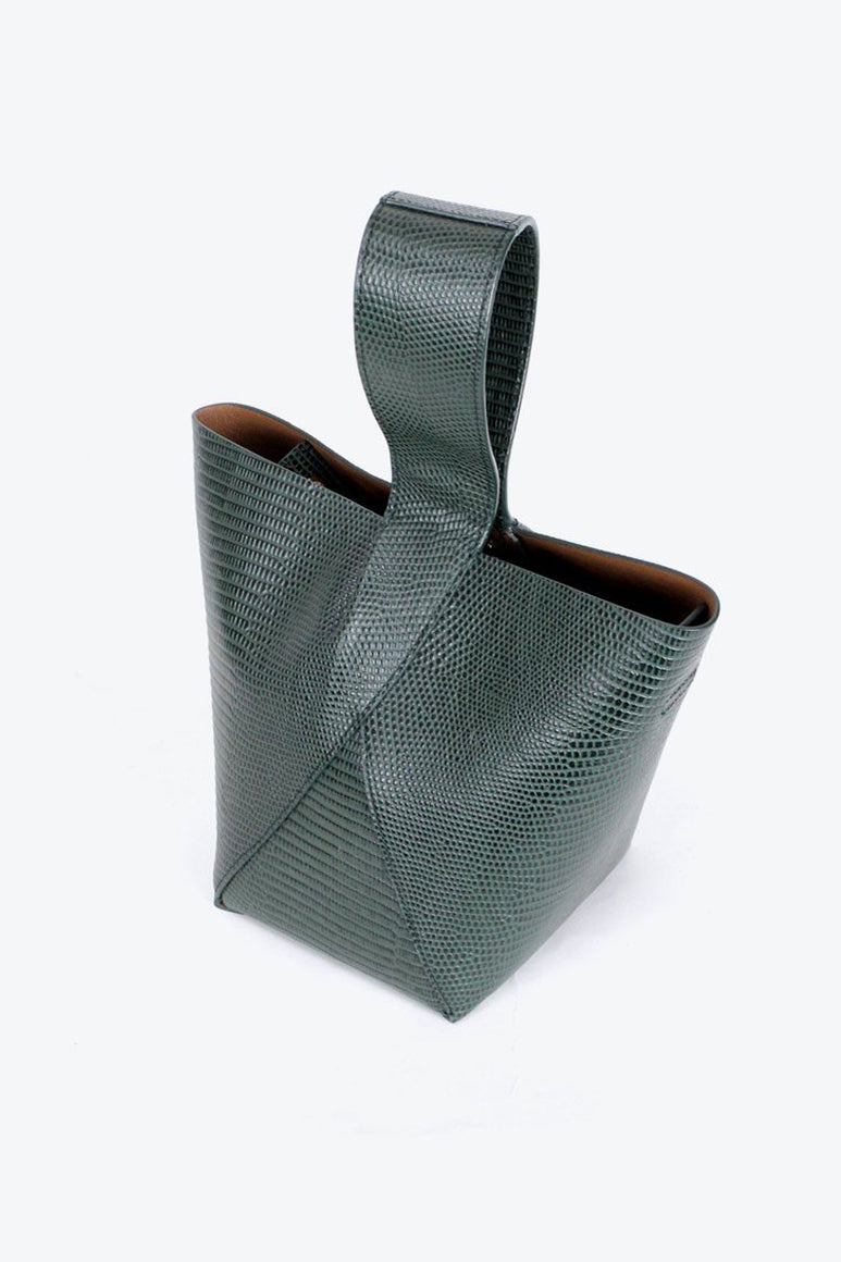 N°49 CROSS HANDLE BUCKET / PINE LIZARD-EMBOSSED LEATHER