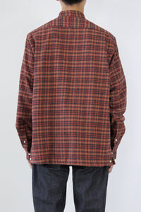 BAND COLLAR COTTON FLANNEL L/S SHIRT / RED/CHARCOAL  [STOCK EXCLUSIVE] [30%OFF]