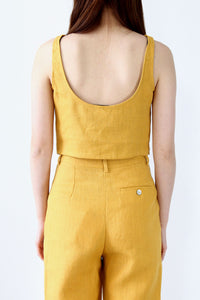COLOMBINE SLEEVE LESS TOP / OCHRE [30%OFF]