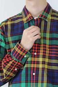 OPEN COLLAR CHECK L/S SHIRT / GREEN/MULTI  [STOCK EXCLUSIVE]