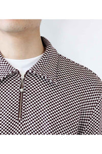 CHECKERED ZIP PULLOVER / BURGUNDY