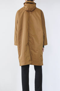 NYLON HOODED LONG COAT / BEIGE [30%OFF]