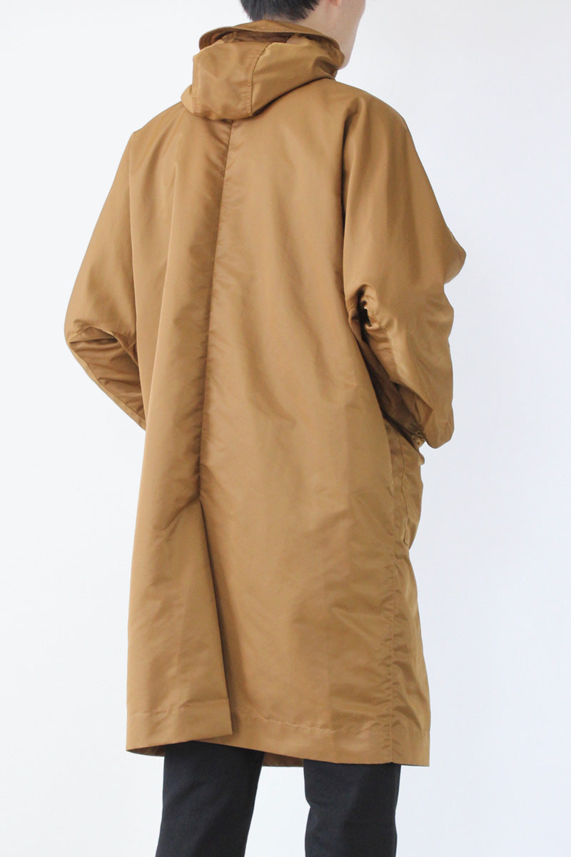 NYLON HOODED LONG COAT / BEIGE