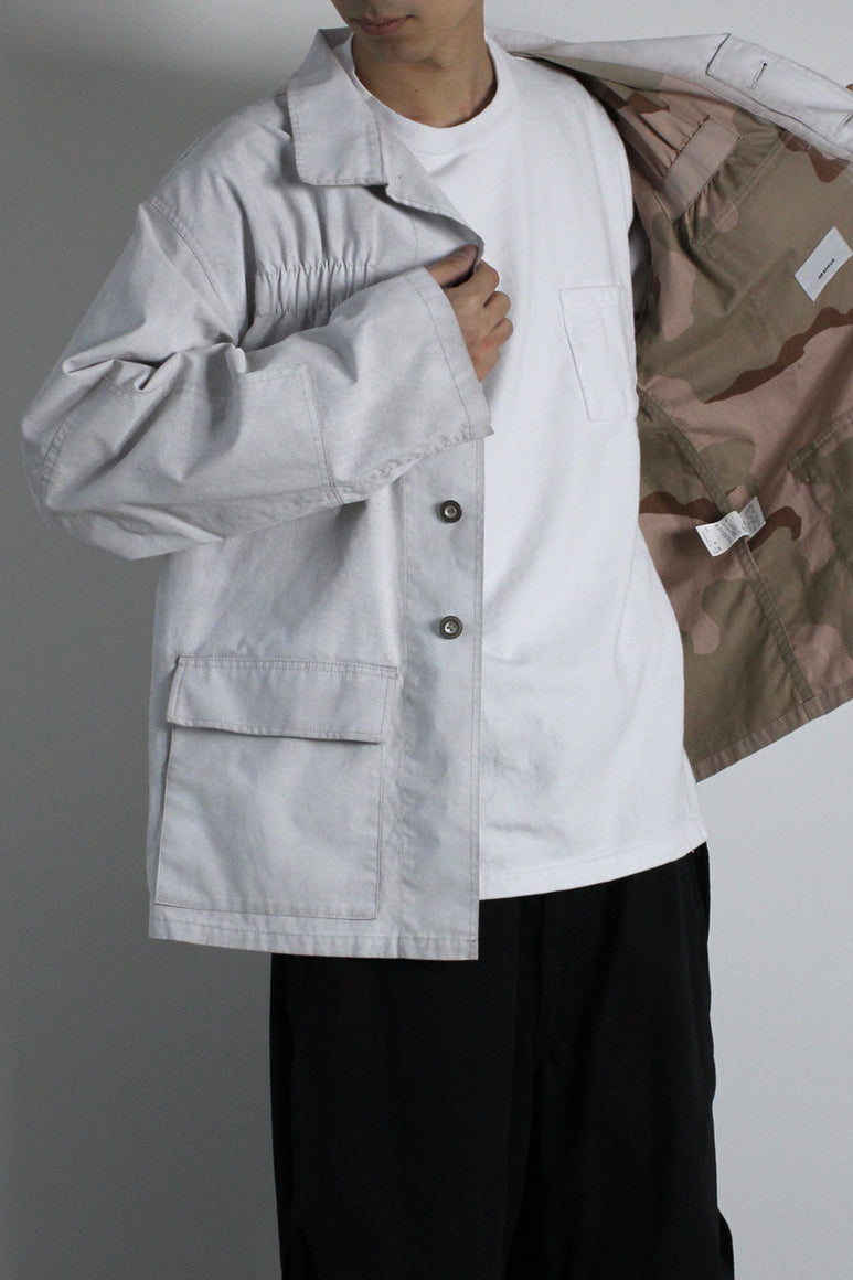 CAMOUFLAGE WHITE SPRAY DYED BLOUSON / WHITE