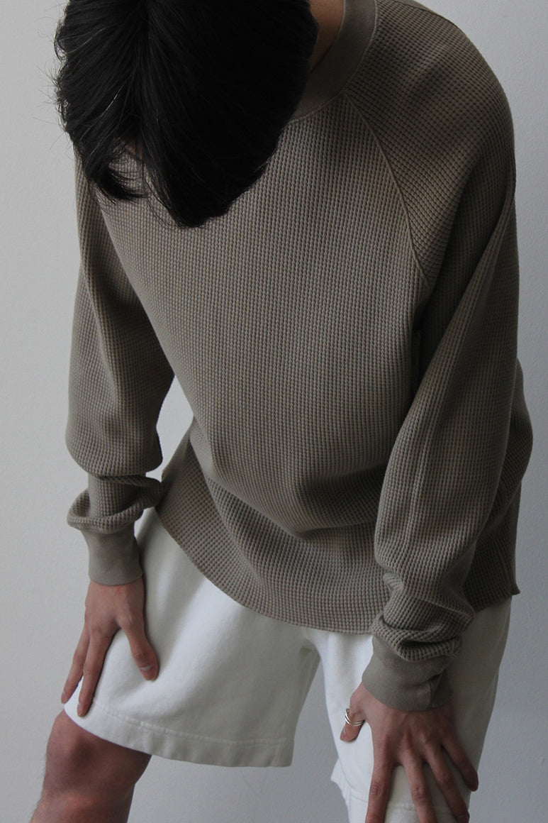 CROPPED RAGLAN THERMAL / ALMOND