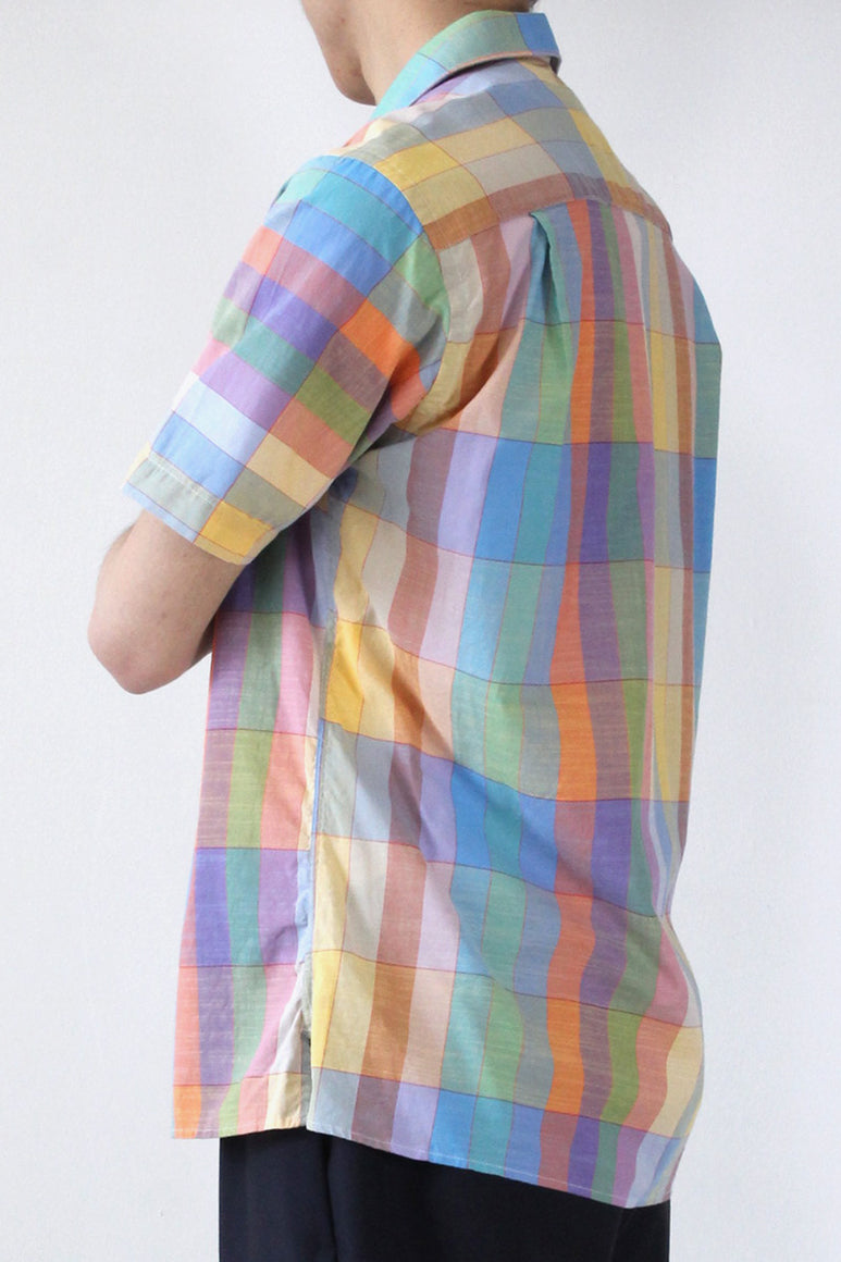 VINTAGE CAMP SHIRT / ARCHIVE GRID MADRAS