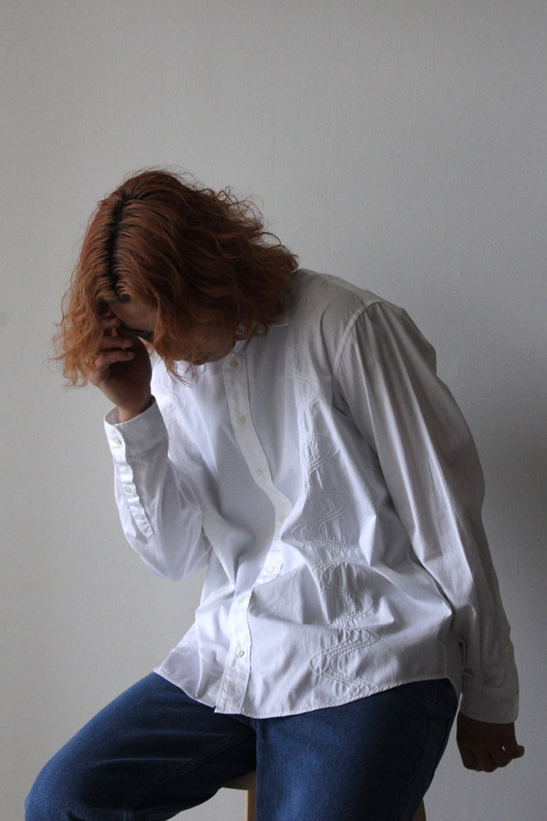 PLEAT CAP / NAVY GROSGRAIN