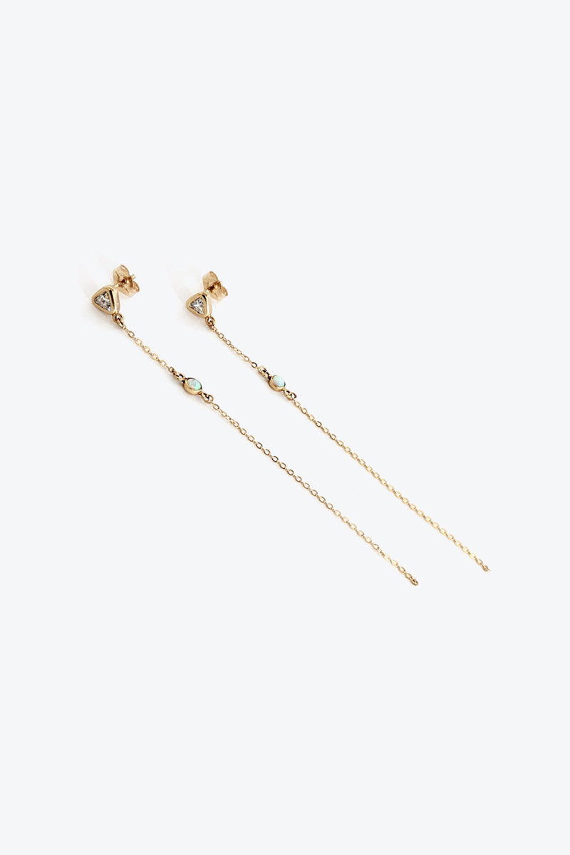 ARIA EARRING w/CZ AND OPAL STONE / 14K GOLD VERMEIL [30%OFF]